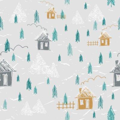 Tapeta Proste ręcznie narysowanego lasu w zimie wzorek bez szwu. Domy, góry, sosny i śniegi. Sylwetka wzór. Śliczny dziecięcy styl.