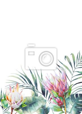 Tapeta Prostokątna rama tropikalna. Botaniczny karciany projekt z kwiecistymi elementami i liśćmi na białym tle. Powitanie lub ślub szablon z egzotycznych kwiatów protea, liści bananowych i palmy.