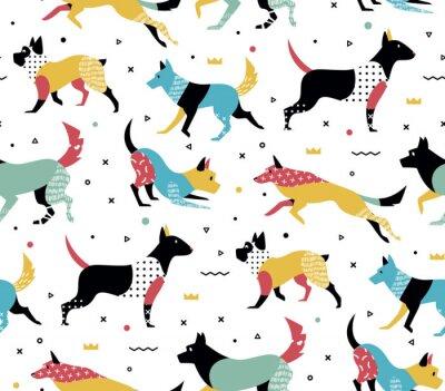 Tapeta Prosty nowoczesny wzór z psami w stylu Memphis