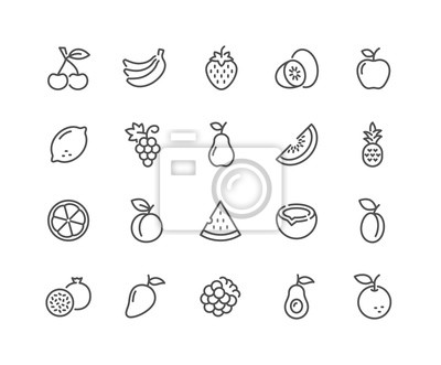 Tapeta Prosty zestaw owoców związanych z linii wektorowe ikony. Zawiera takie ikony, jak truskawka, pomarańcza, arbuz i inne. Obrys edytowalny. 48 x 48 pikseli Perfect.