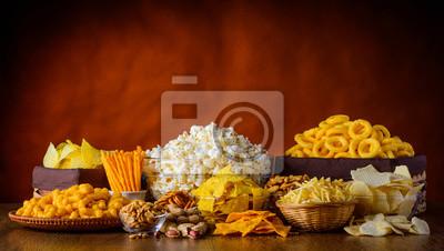 Tapeta Przekąski, orzechy i popcorn