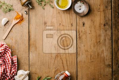 Tapeta Przyprawy i składniki do gotowania na drewnianym