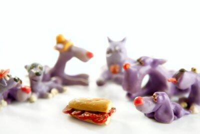 Psy spotkania głodny jedzenia
