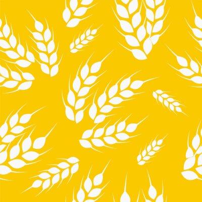 Tapeta Pszenica biało-złoty wektor wzór