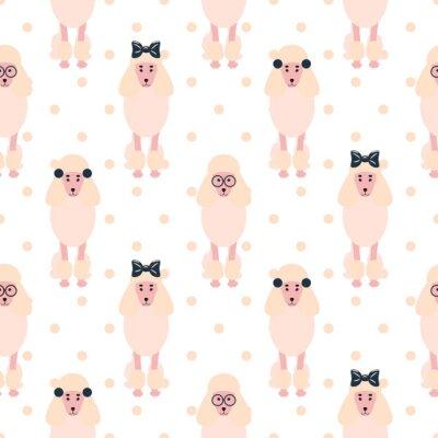 Tapeta Pudel cute różowy pies girlish bez szwu wektor polkadot wzór. Lekki pastelowy szczeniak kręcone rasy z łuków i okularami tła hipster do drukowania tkanin tekstylnych i tapet.