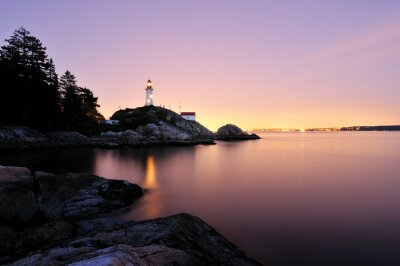 Tapeta Punkt Atkinson Lighthouse w West Vancouver, Long Exposure