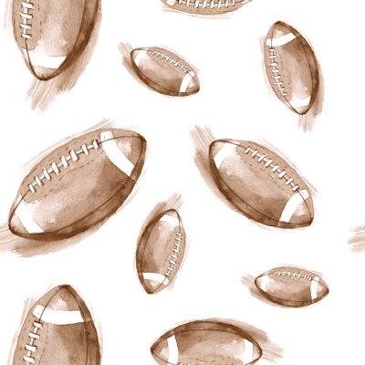 Tapeta R? Cznie rysowane akwarela bez szwu deseń z futbolu amerykańskiego kulki. Powtarzane tło w stylu retro. Wzór sportu