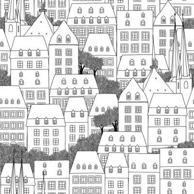 Tapeta R? Cznie rysowane bez szwu deseń domów w stylu luksemburskim