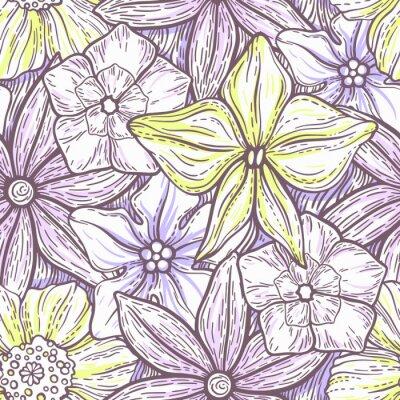 Tapeta R? Cznie rysowane wzór ozdobnych ozdoba kwiatu. Stylizowane kolorowe kwiaty. Lato wiosny neutralnym tle. Ilustracji wektorowych