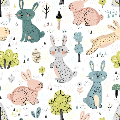 Tapeta Rabbits in the woods cute seamless pattern in Scandinavian style. Great for kids apparel, textile, fabric, wrapping paper, nursery decoration. Vector illustration