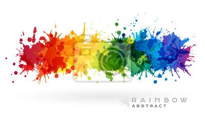 Tapeta Rainbow kreatywny poziomy baner z plamami farby.