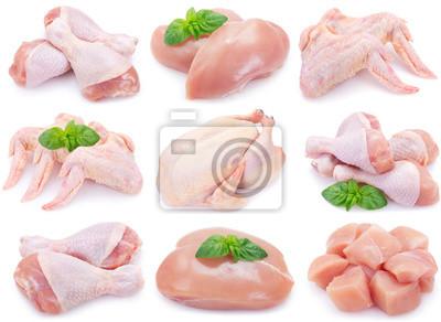 Tapeta Raw chicken on white background