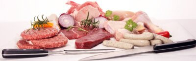 Tapeta raw meat. Different types of raw pork meat, chicken and beef with spices and herbs