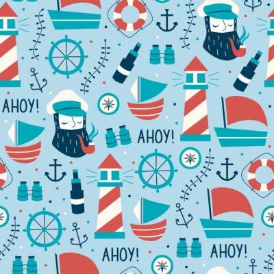 Tapeta Rę cznie narysowane Vintage Marine Seamless Pattern.