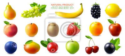 Tapeta Realistic Berries And Fruits Set