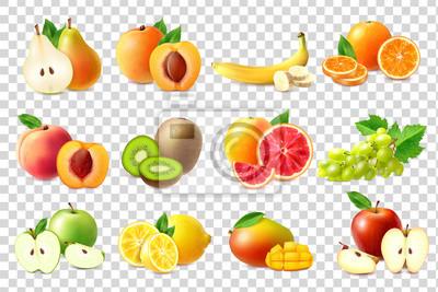 Tapeta Realistic Fruits Icons Set