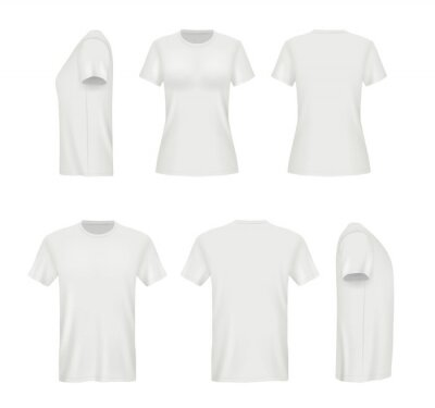 Tapeta Realistic shirts. Male and female blank clothes template vector mockup. Sport t-shirt mockup, uniform clothing, cotton model front illustration