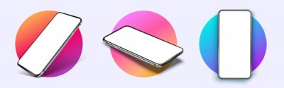 Tapeta Realistic smartphone mockup. Device UI/UX mockup for presentation template. . Cellphone frame with blank display isolated templates, phone different angles views. 3d isometric illustration cell phone