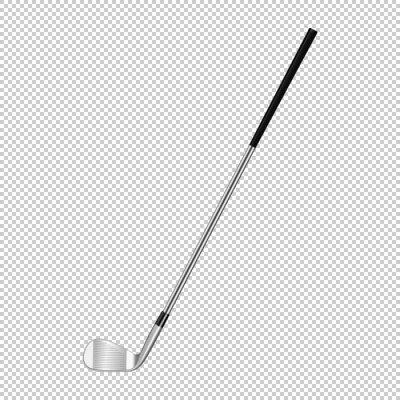 Tapeta Realistyczne ikony klasycznego klubu golfowego izolowanych na przezroczystym tle. Szablon projektu zbliżenie w wektorze.