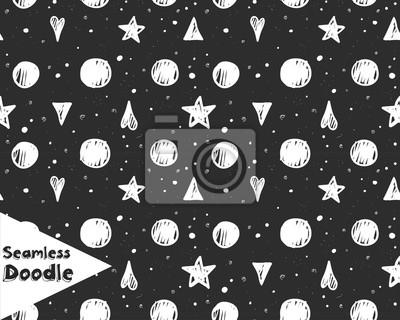 Ręczne, gwiazdy, trójkąty i serca doodle bez szwu wzór.
