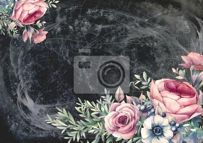 Tapeta Ręcznie malowane Vintage Design karta z kwiatowymi kompozycjami na pokładzie kredy. Akwarele ilustracji: bukiety kwiatów na ciemnym tle. Piwonii, róż, zawilec, gałęzie i jagody