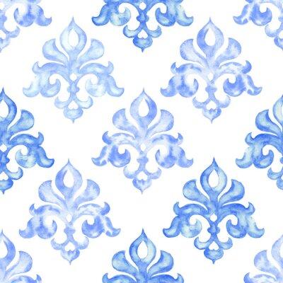 Tapeta Ręcznie rysowane akwarela ornament, niebieski wzór, vintage, powtarzając tło.