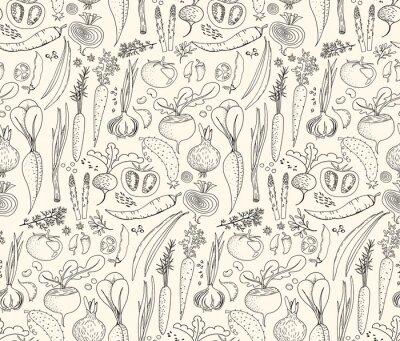 Tapeta Ręcznie rysowane bezszwowe gryzmoły wzór z różnych warzyw: pomidor, cebula, buraki, ogórek itp. Żniwa powtórzone tło. Grafika liniowa