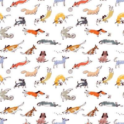 Tapeta Ręcznie rysowane doodle słodkie psy. Jednolite wzór z plaing zwierząt