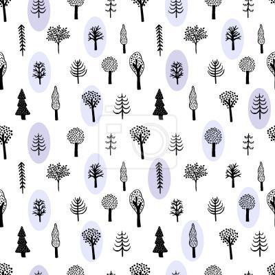 Tapeta Ręcznie rysowane Drzewa