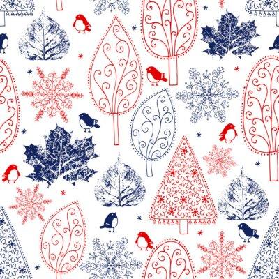 Tapeta ręcznie rysowane drzewa i płatki śniegu wzór