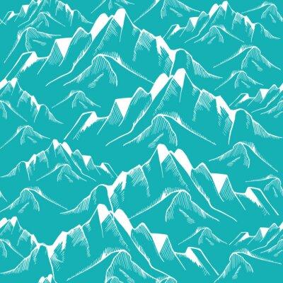 Tapeta Ręcznie rysowane górskie szwu. wzór krajobrazu. ilustracji wektorowych