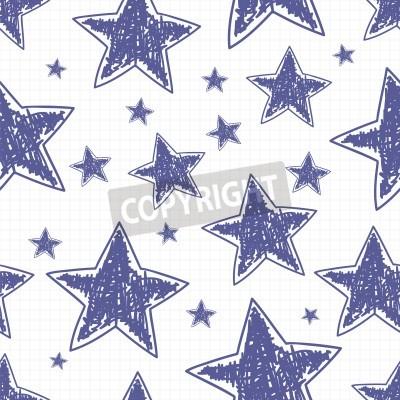 Ręcznie rysowane gwiazdek bez szwu, ilustracji