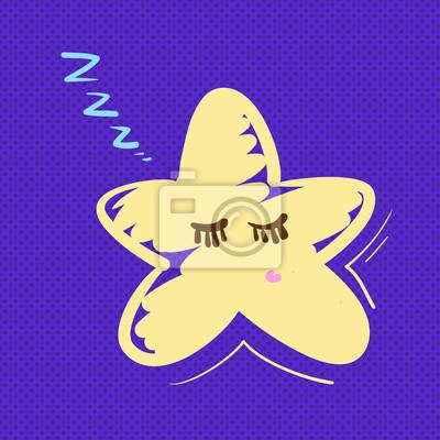 Ręcznie rysowane ilustracji wektorowych gwiazda śpi.
