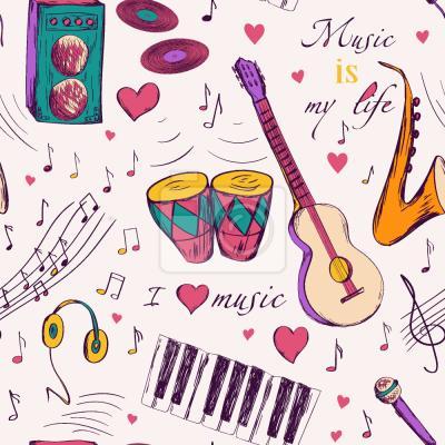 Tapeta Ręcznie rysowane Instrumenty muzyczne