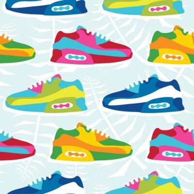 Tapeta Ręcznie rysowane kreskówka styl hipster tenisówka buty wektor wzór