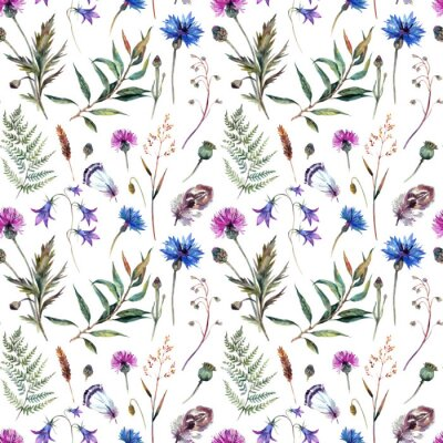 Tapeta Ręcznie rysowane kwiaty akwarela