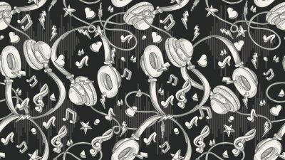 Tapeta Ręcznie rysowane muzyczne słuchawki - bezszwowe monochromatyczny wzór