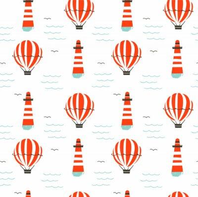 Tapeta Ręcznie rysowane wektor kreskówka bezszwowe wzór z latarnią morską, gorącym powietrzem ballon i fal morskich na białym tle