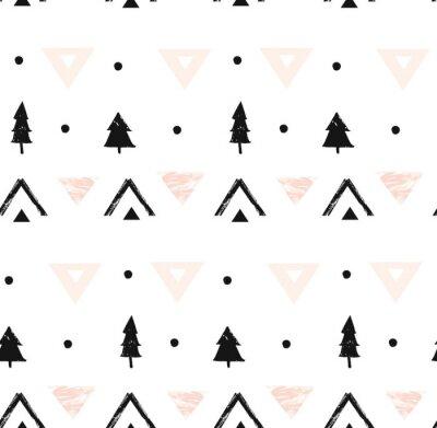 Tapeta Ręcznie rysowane wektor streszczenie nowoczesny skład geometryczny wzór w czarne, białe i pastelowe kolory różowy z odręczne szorstki tekstura i święta drzewa na białym tle