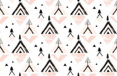 Tapeta Ręcznie rysowane wektor streszczenie Wesołych Świąt czas szorstki artystycznej odręczne ilustracja bez szwu wzór z góry zima natura i sosny las w pastelowych kolorach na białym tle