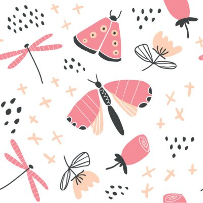 Tapeta Ręcznie rysowane wektor wzór kwiatowy z motylami