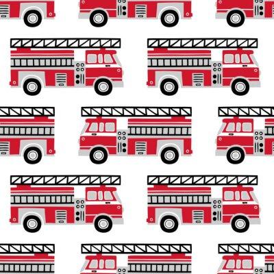 Tapeta Ręcznie rysowane wozy strażackie bezszwowe wektor wzór na białym tle.