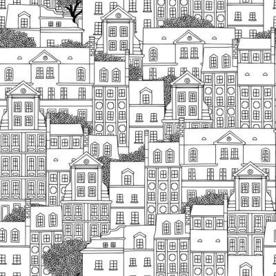 Tapeta Ręcznie rysowane wzór polskich domów z drzewami