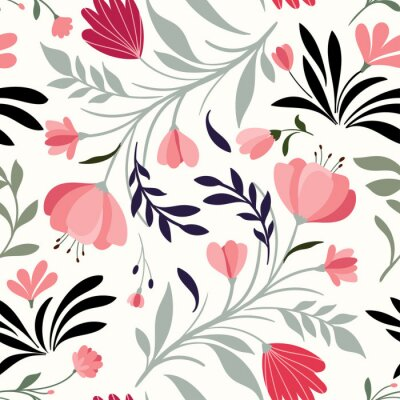 Tapeta Ręcznie rysowane wzór z dekoracyjne kwiaty i rośliny, białe tło