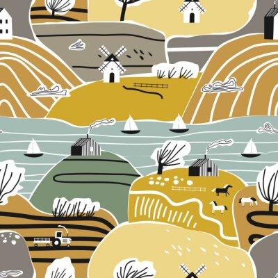 Tapeta Ręcznie rysowane wzór z domu, drzew i wzgórz. Europa natura krajobraz koncepcja. Idealny dla dzieci tkanina, tekstylia, tapety dziecięce. Jesień.