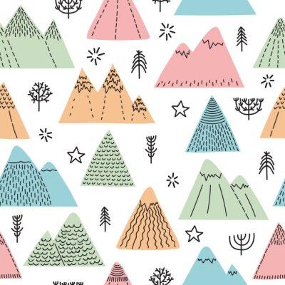 Tapeta Ręcznie rysowane wzór z drzew, gwiazd i gór. Twórczy skandynawski las tło. Las. Stylowy szkic