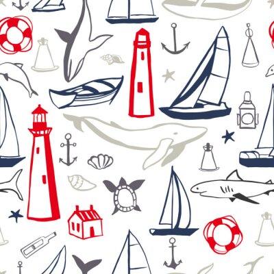 Tapeta Ręcznie rysowane zestaw ikon morskich. Wektor wzór