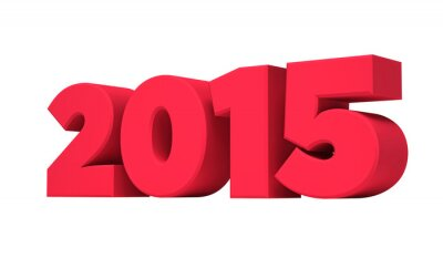 Red 2015 new year isolated on a white background