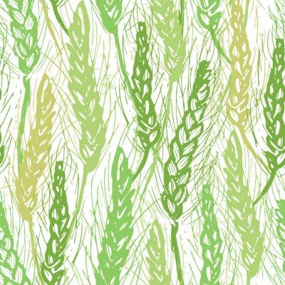 Tapeta Ręka Atrament pola zbóż rysowane bez szwu wzór