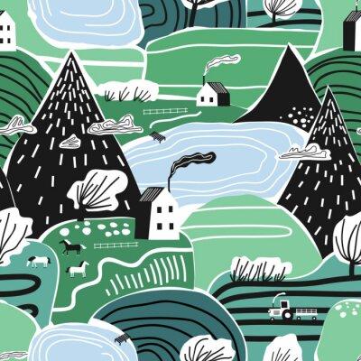Tapeta Ręka rysujący wektorowy abstrakcjonistyczny scandinavian graficzny ilustracyjny bezszwowy wzór z domem, drzewami i górami ,. Nordic krajobrazowy krajobrazowy pojęcie. Idealny dla dzieci tkanina, tkani